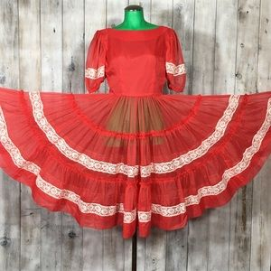Vintage Red Sheer Square Dancing Dress Approx Sz 6